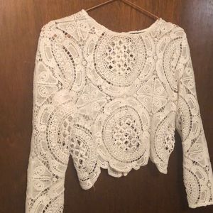 Boohoo cropped white detailed top
